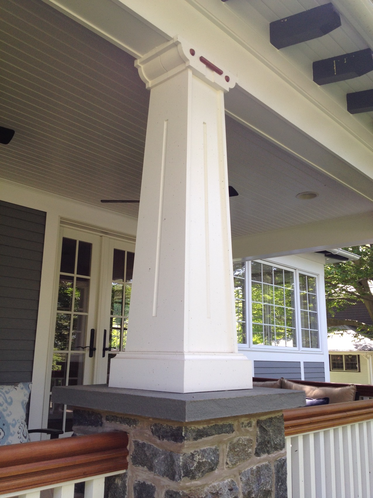 New Front Porch Stone Base Column Detail
